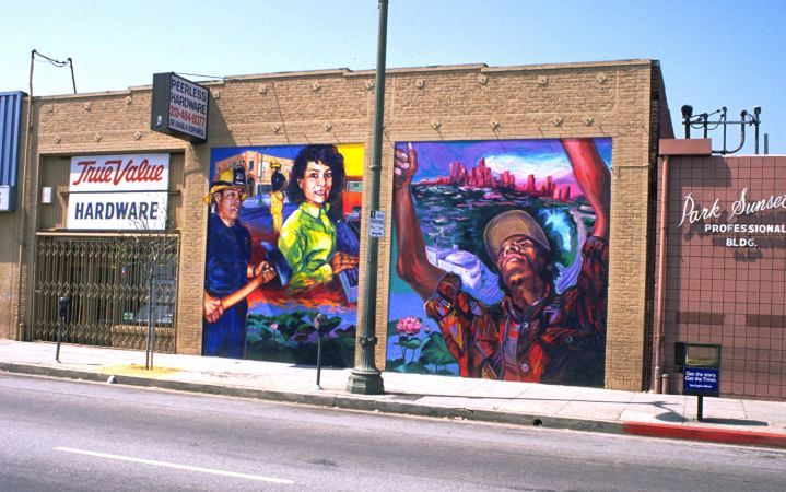 The complete disappearance of El Nuevo Mundo: Homage to the Workers (1997) (above) in Echo Park and the ongoing corrosion of his best known work, Resurrection of the Green Planet (1990–91) (below) in Boyle Heights tell the distinct yet interrelated stories of a disappeared and a disappearing mural, both embodying the death and near death of Chicana/o muralism.