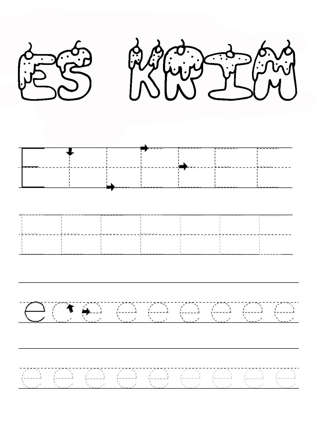 Belajar Menulis Huruf Abjad E