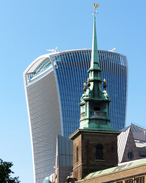 The bell tower of All Hallows-by-the-Tower with the 20 Fenchurch Street in background, London