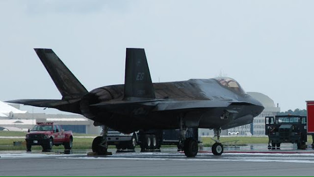 Damaged F-35 from burnt out engine -- USAF Photo
