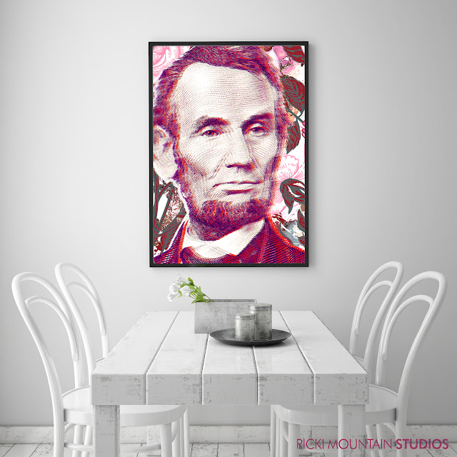 """Abraham Lincoln"", ""ricki mountain"" ""art by ricki mountain"" ""wall decor"""