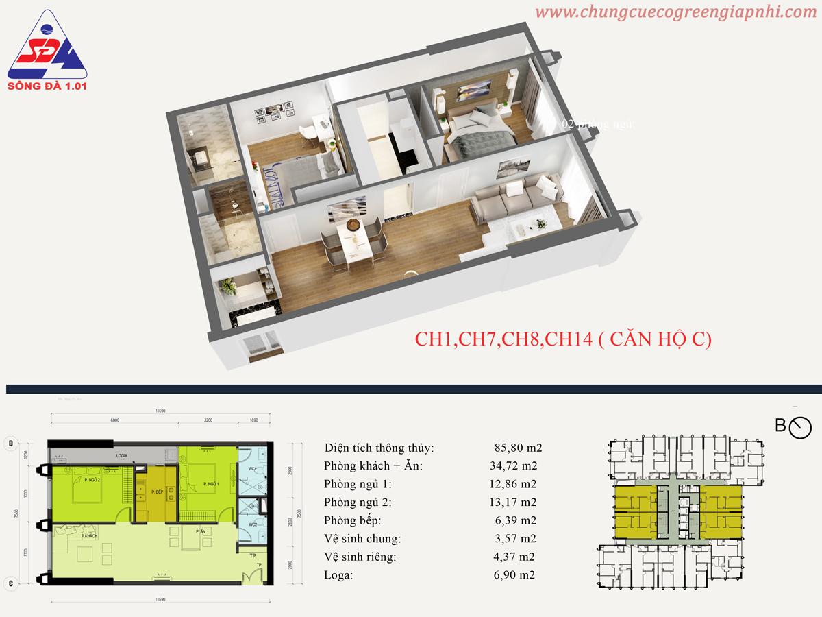 Thiết kế căn hộ CH01 Eco green tower