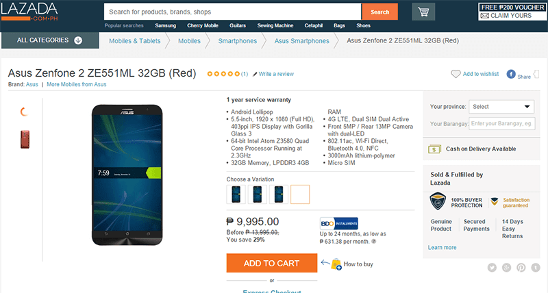 ZenFone 2 for 9995 Pesos only!