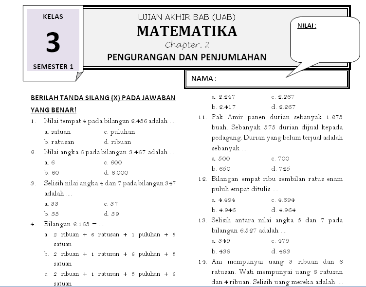 Soal Matematika Kelas 3  Bab 2. Pengurangan Dan Penjumlahan ~ Rief Awa Blog : Download Kumpulan