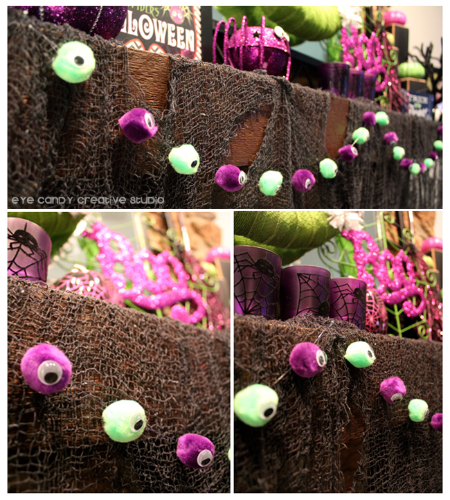 ideas to decorate your mantel for halloween, googly eye garland