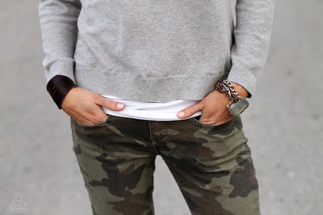 Camo skinnies and gray tee, leather cuff