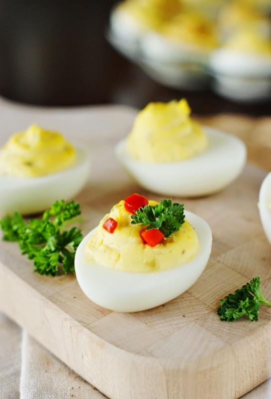 Deviled Egg Garnishes ~ Pimento & Parsley