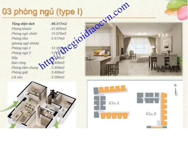 Mẫu thiết kế 3 phòng ngủ của căn hộ The Eastern