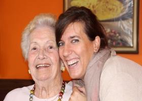 Visiting grandmother.
