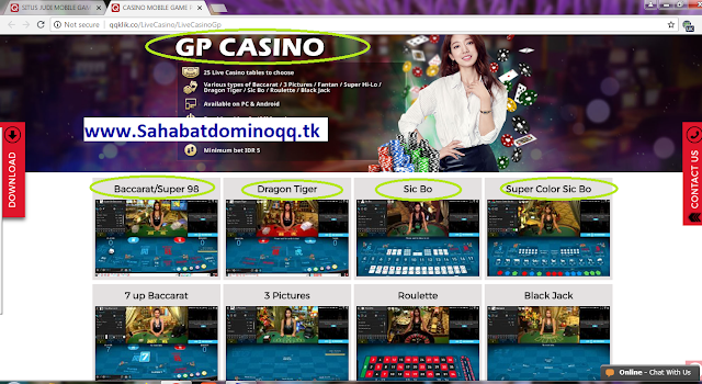 QQKLIK SITUS LIVE CASINO-GAME PLAY (GP) CASINO-Baccarat, dragon tiger, siccbo, roulette