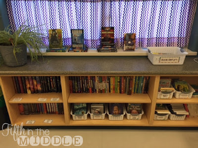 Organizing your books by author and series help students find what they're looking for. Organize random titles in genre or reading level baskets.