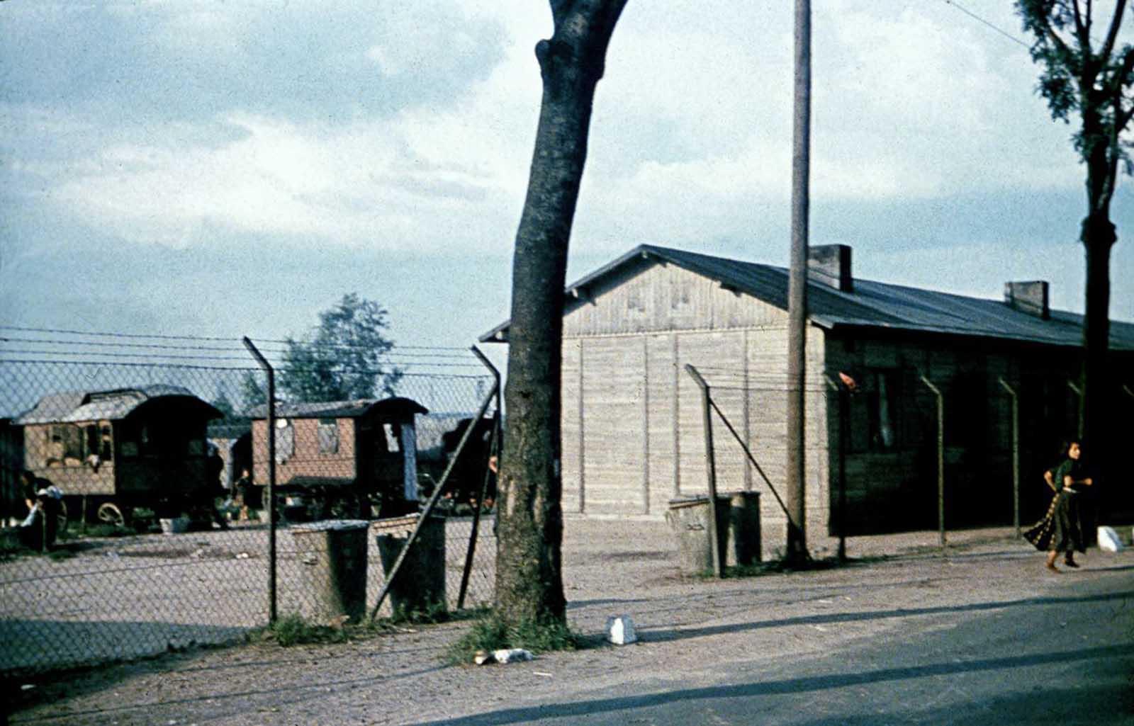 Una mujer corre fuera de un campamento de Sinti al que apunta el Centro de Investigación de Higiene Racial. 1940.