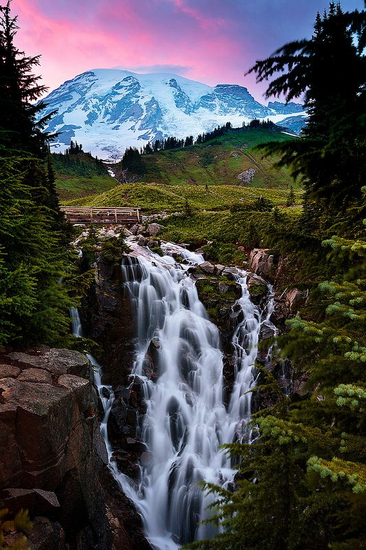Intangibles Company - Myrtle Falls at Sunset. Mt. Rainier National Park