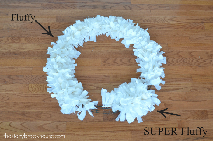 Comparison of fluffy rag wreath