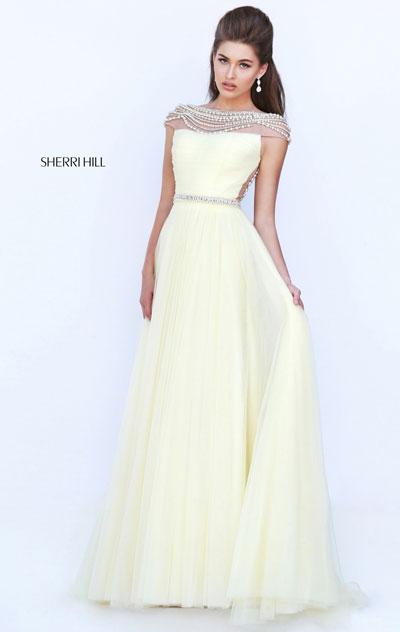 69ab16d40eb Sherri Hill 50187 Yellow Long Prom Dresses 2016