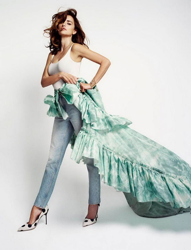 2016 SS Roberto Cavalli Tie-Dye Silk Taffeta Waterfall High Low Skirt Editorials