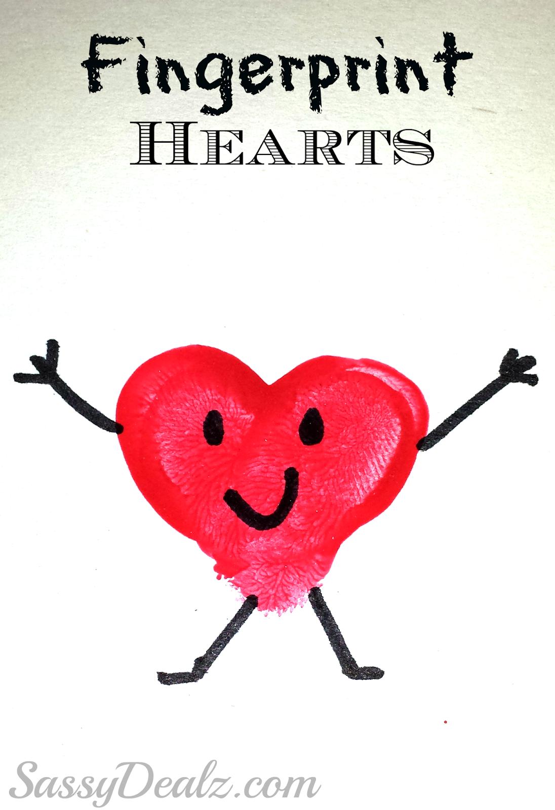 Valentine Heart Fingerprint Craft For Kids Diy Card Idea