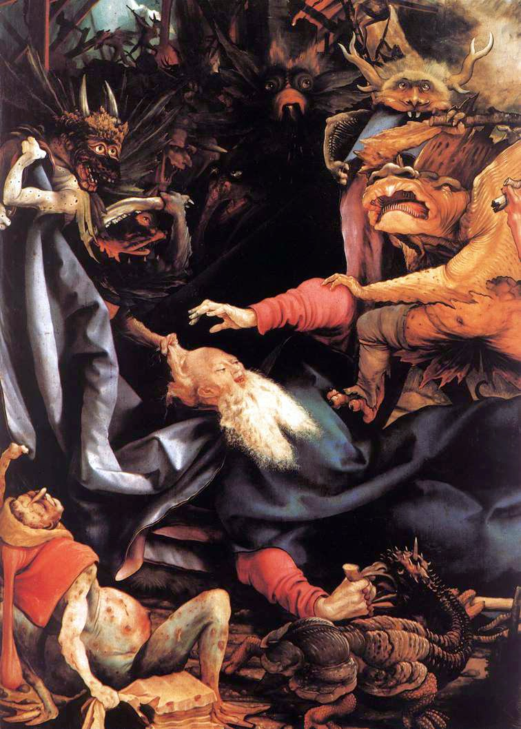 The Temptation of St Antohony by Matthias Grünewald, , Macabre Paintings, Horror Paintings, Freak Art, Freak Paintings, Horror Picture, Terror Pictures