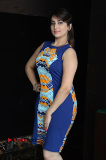 Actress Anchor Manjusha Pictures in Blue Short Dress at Jaguar Movie Success Meet .COM 0012.jpg