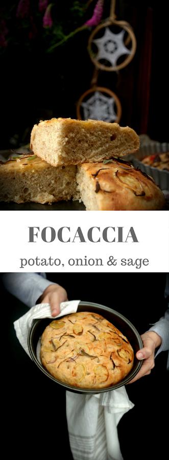 Focaccia de patata, cebolla y salvia con harina integral