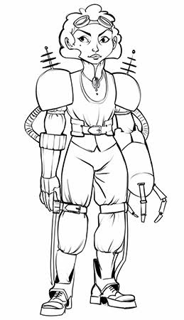 A character with short hair, goggles, and augmented clothing - armor with radar antennae, a claw hand, and braces at the knees.