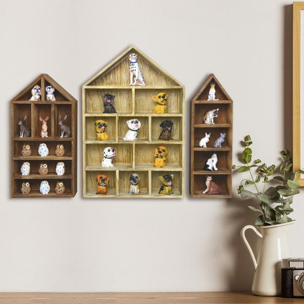 Shop the House-Shaped Wooden Shadow Cubby Box Display Shelf - Set of 3 at NileCorp.com