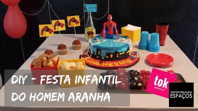 Decoração de Festa Infantil com tema do Homem Aranha