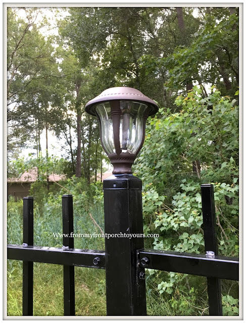 Backyard Landscape- Solar Lights-Iron Fencing-DIY-From My Front Porch To Yours