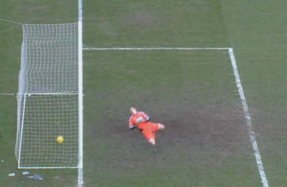 A footage shows that Leigh Griffiths's shot appears to cross the goalline but a goal is not awarded