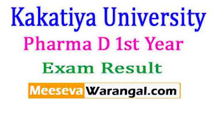 Kakatiya University Pharma D 1st Year Nov 2016 Exam Results
