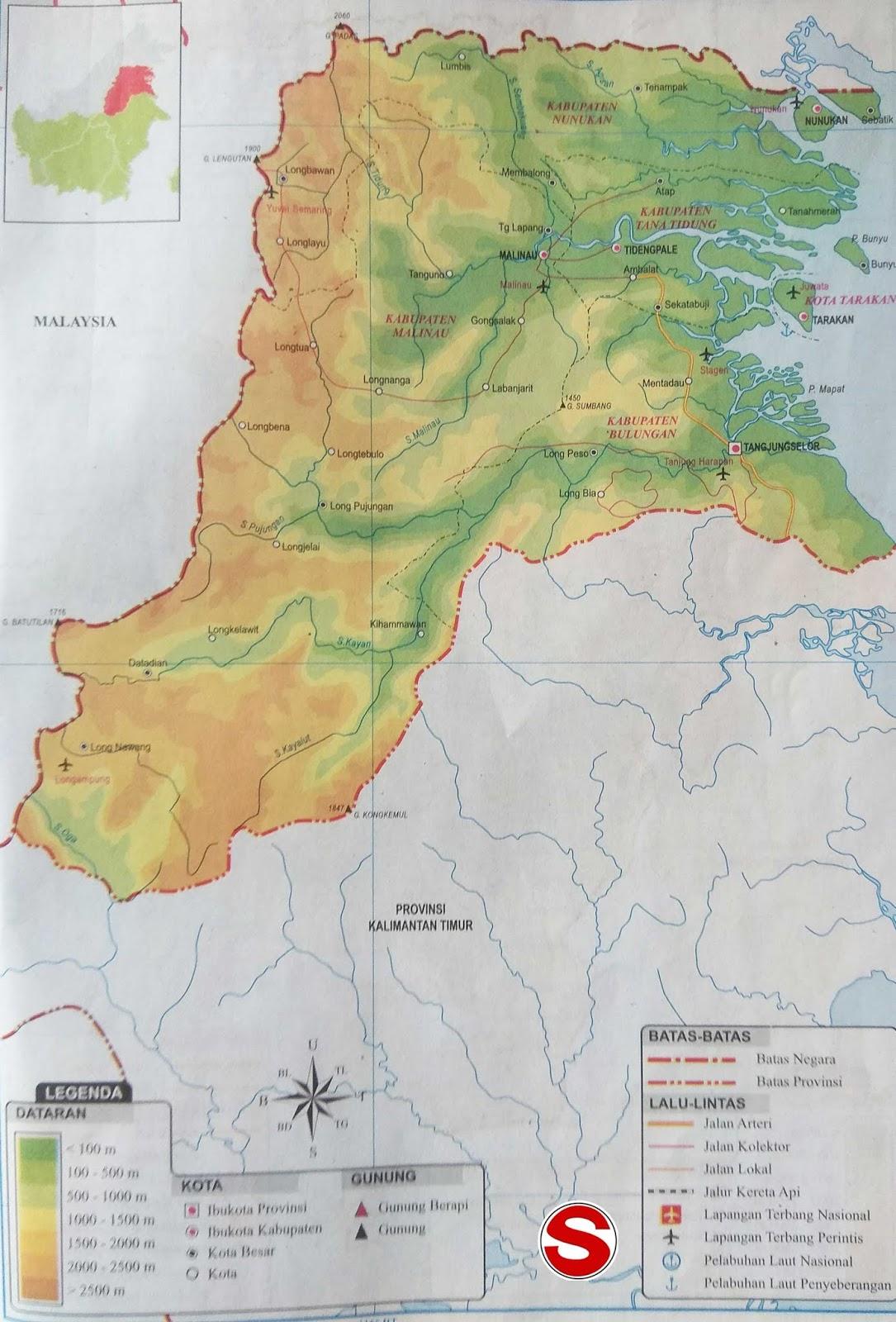 Peta Atlas Kalimantan Utara di bawah ini mencakup peta dataran Peta Atlas Provinsi Kalimantan Utara