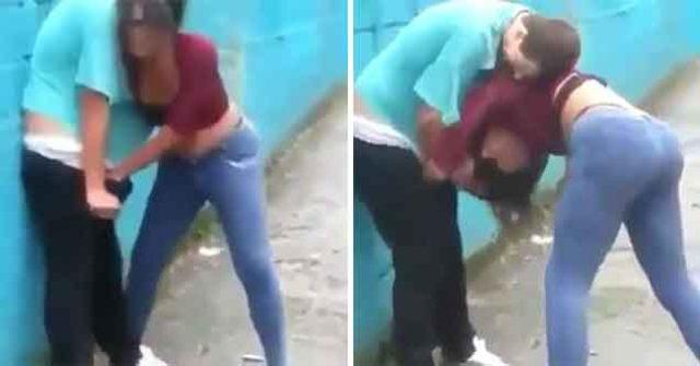فتاة تعتدي على شاب في الشارع والسبب؟!!