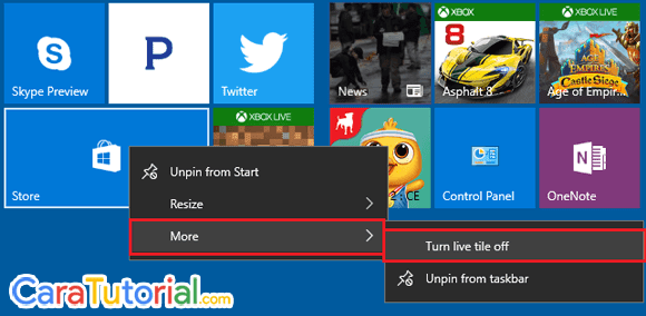Turn live tile off Windows 10