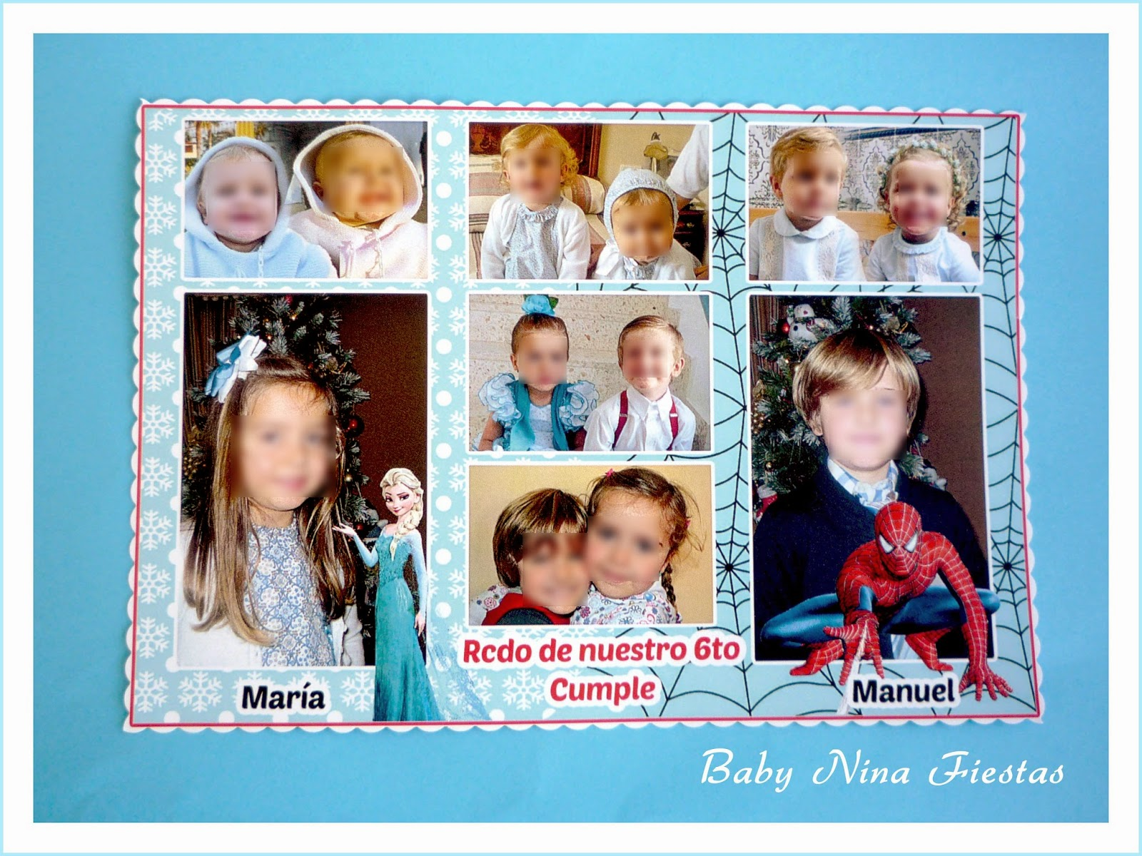 recordatorio cumpleaños doble spiderman frozen