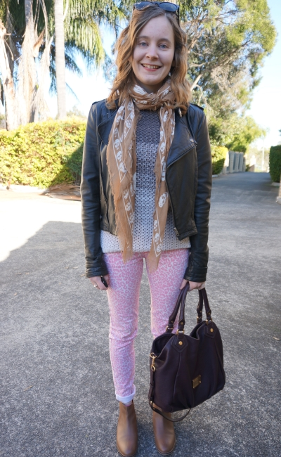 Pink Leopard Print Jeans with ombre grey knit and tan accessories