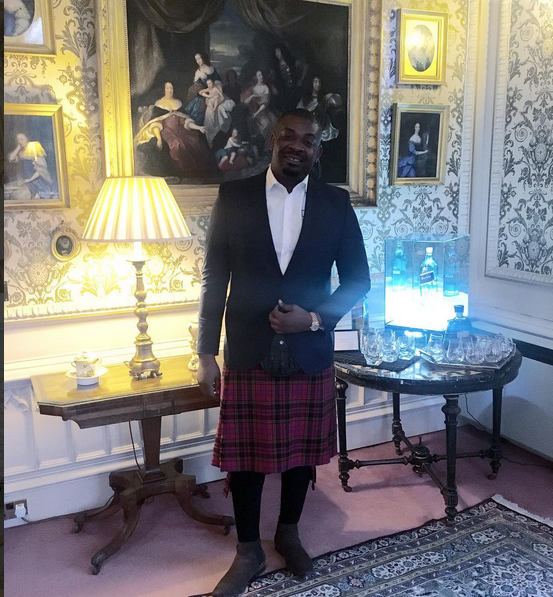 Don jazzy wears his Kilt in Scotland