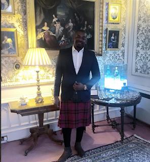 Don jazzy wears his Kilt in Scotland