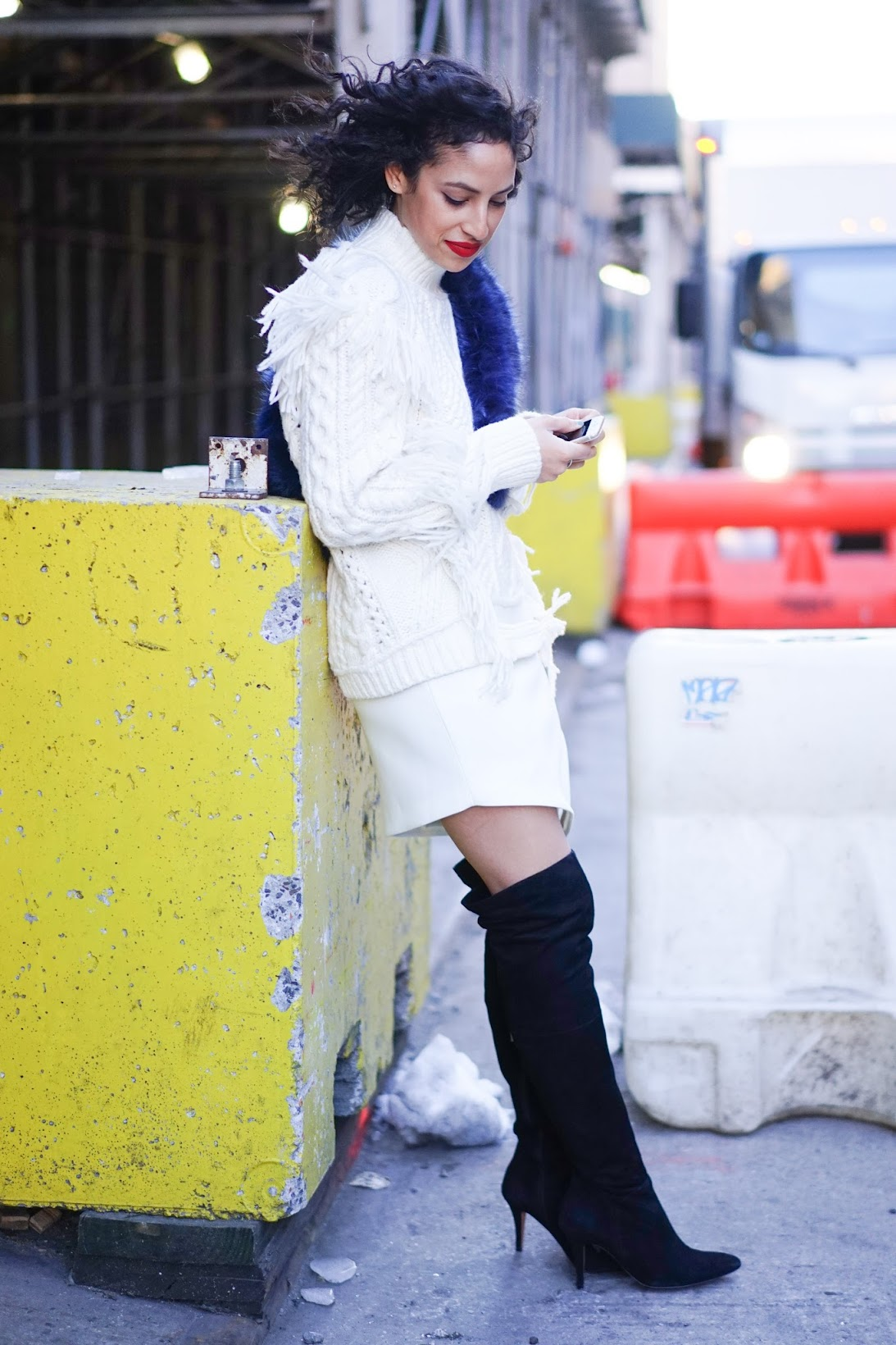 all white, winter white outfit, suede OTK boots, DUO OTK boots, Coach Ayan Fringe turtleneck, missguided faur fur wrap, nyc streetstyle, Where's my drivr, streetstyle, nyc