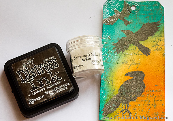 Layers of ink - Totally Embossed Tag Tutorial by Anna-Karin with Tim Holtz Halloween