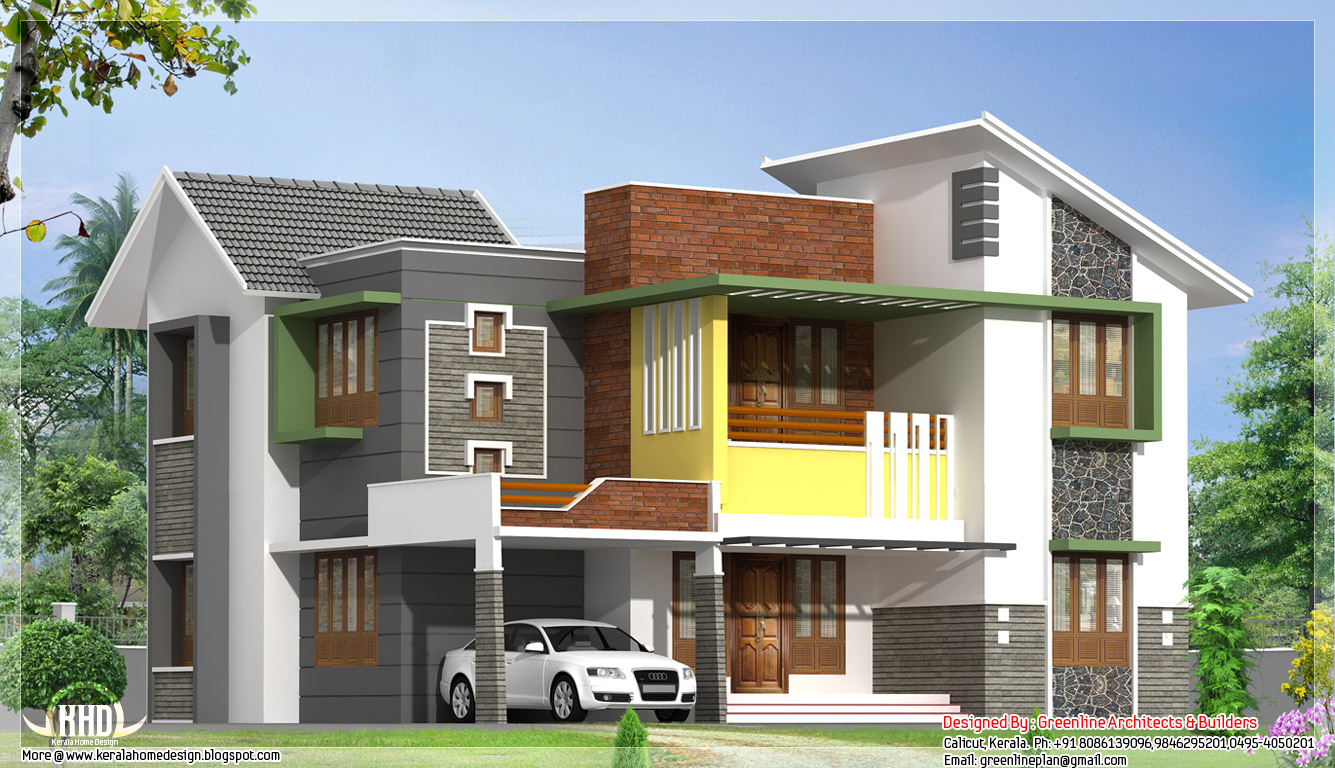 Modern house elevation 2081 kerala home design for Contemporary home elevations