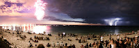 Comet between Fireworks and Lightning