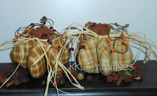 Set Of 2 - Handcrafted Tan/Mustard Homespun Fabric Pumpkins