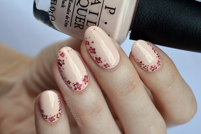 opi stop it i'm blushing floral delicate nails