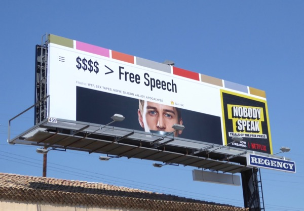Nobody Speak Trials of Free Press documentary billboard