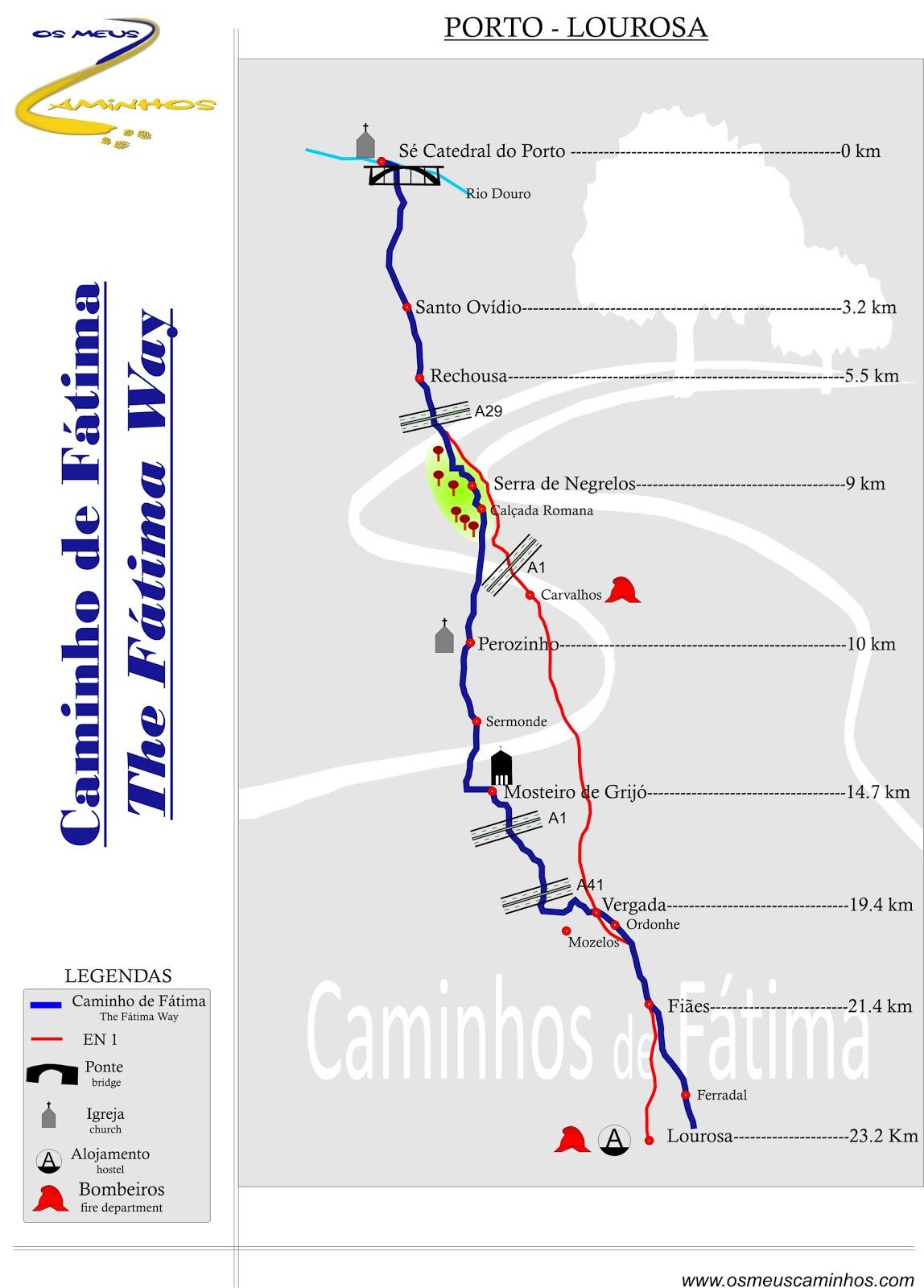 caminho de fatima mapa Os Meus Caminhos: Caminho de Fátima caminho de fatima mapa