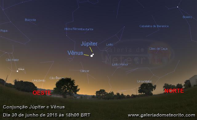 Conjunção Júpiter e Vênus - dia 30 de junho de 2015