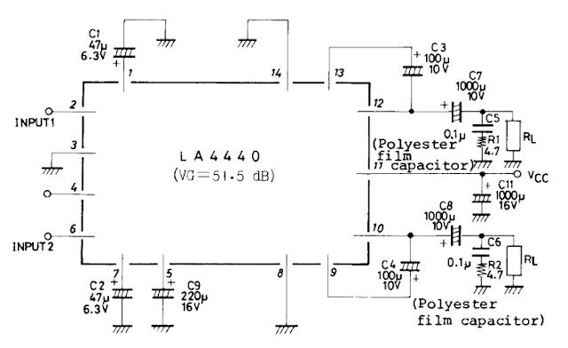 2x6w la4440 audio amplifier