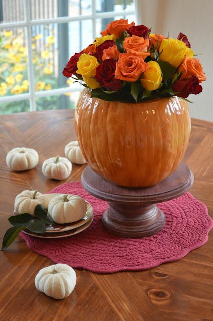 Fall floral arrangement with pumpkin