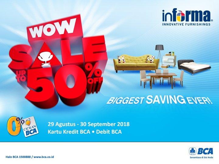Informa - Promo Sale s.d 50% Pakai BCA Debit & BCA Kredit (s.d 30 Sept 2018)
