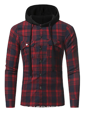Plaid Hood Patched Casual Men's Shirt